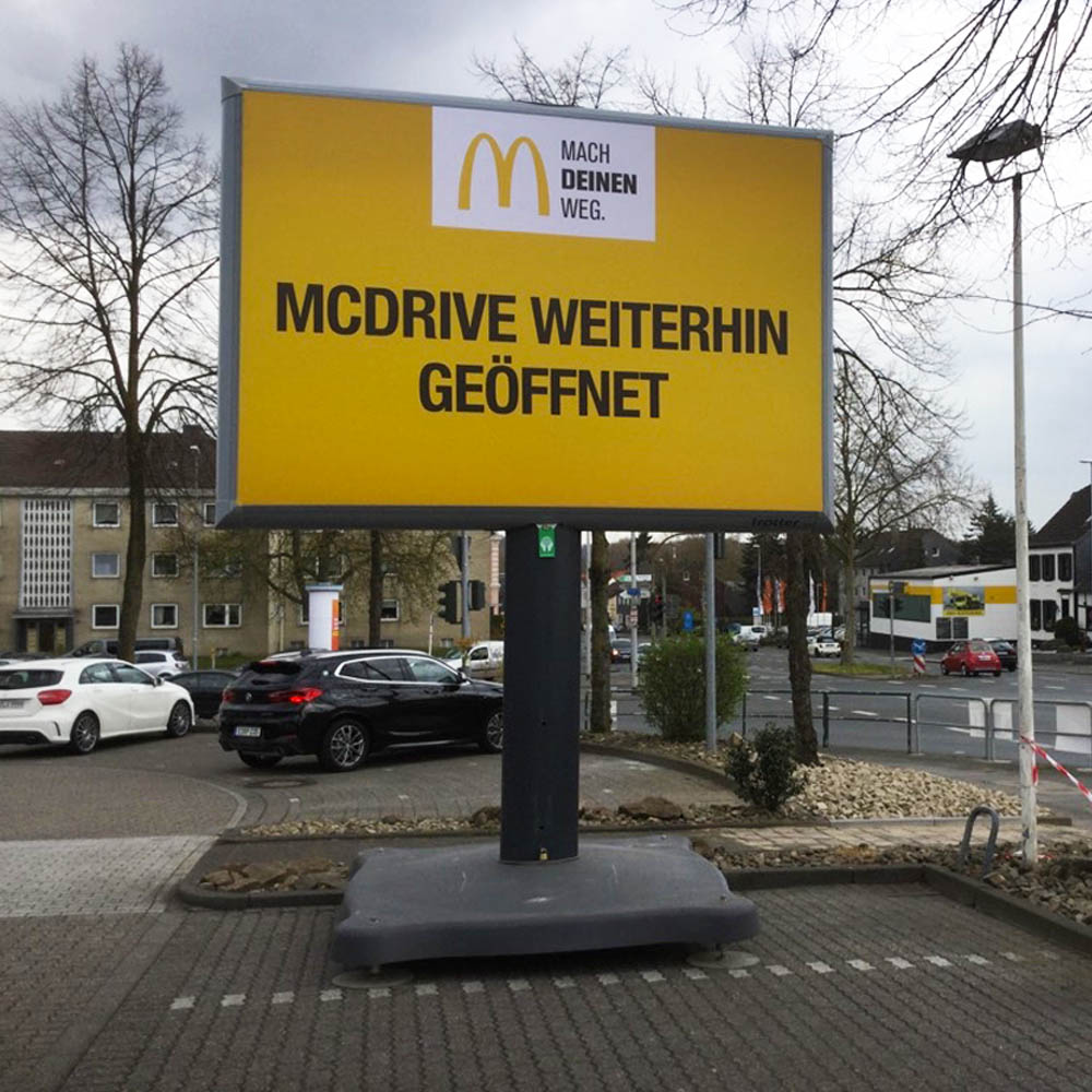 Kampagne McDonalds in der coronazeit trotter deutschland 1000x1000