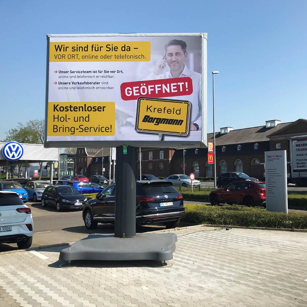 Kampagne VW Borgmann Krefeld Trotter billboard 1000x1000