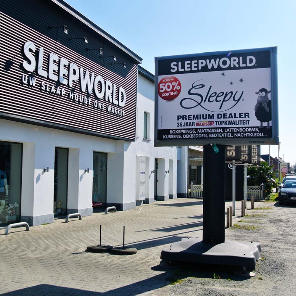 Sleepworld belgie campagne op trotter billboard trotters 1000x1000