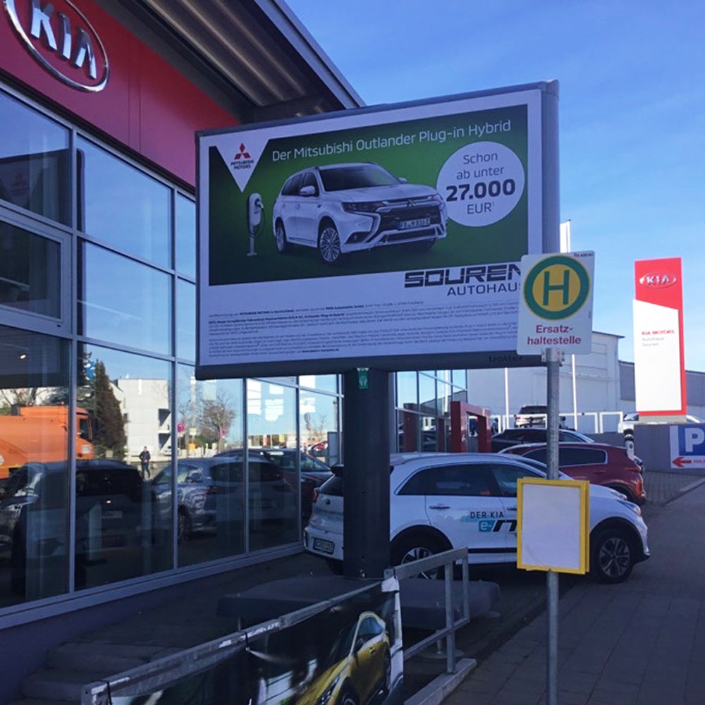 Mitsubishi Kampagne Autohaus Souren Aachen trotter billboards aussenwerbung werbeflache 1000x1000