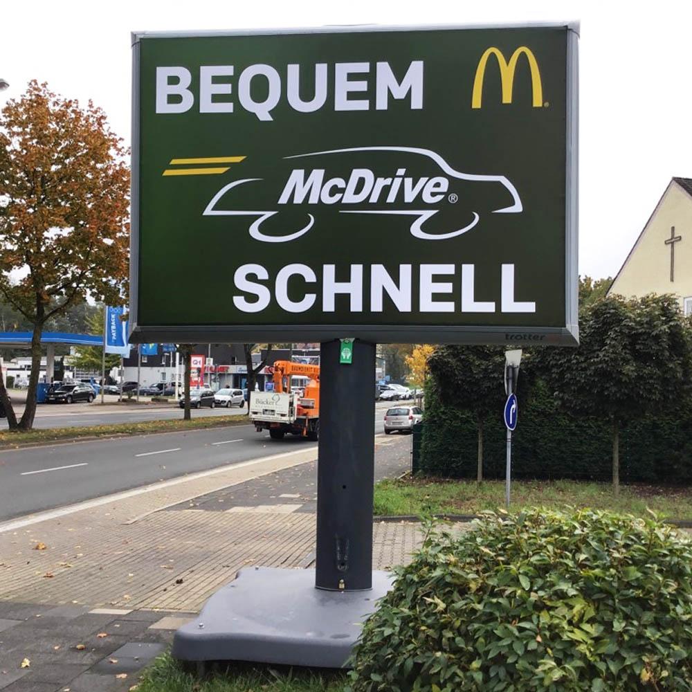 Kampagne McDonalds Prünte aussenwerbung trotter billboard 1000x1000