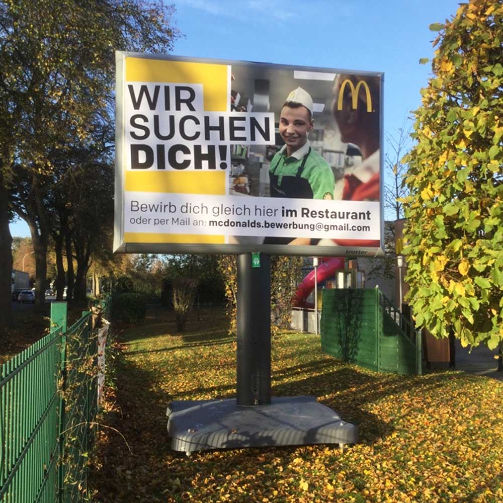 Kampagne Mcdonalds Wellmann trotter billboards ausswerbung werbeflache 1000x1000